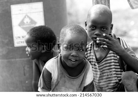 TORIT, SOUTH SUDAN-FEBRUARY 21 2013: Unidentified boys play in the town of Torit, South Sudan - stock photo