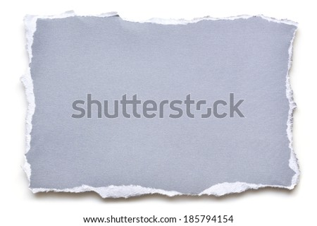 Torn blue paper, isolated on white with shadow. - stock photo