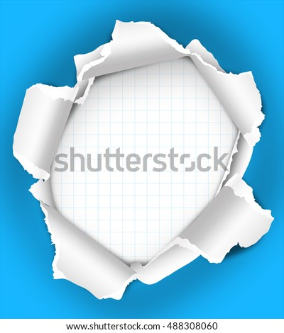 Torn blue paper poster or flyer background with empty space