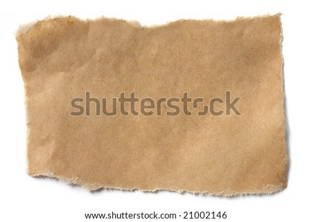 Torn brown paper casting natural shadow on white. - stock photo