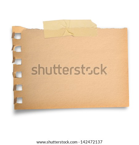 Torn brown paper note with scoth tape in vintage style, isolated on white