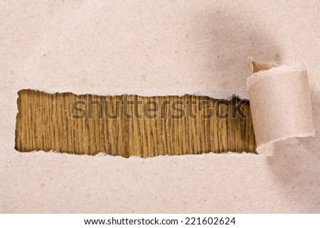 torn brown paper on a wooden background - stock photo