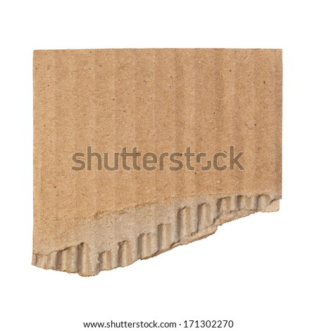 Torn cardboard isolated on white  - stock photo