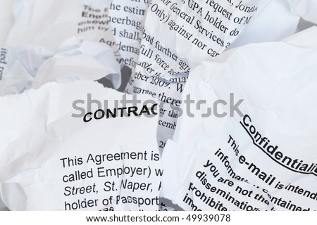 Torn Contract  with confidentiality agreement - many uses for security purpose.