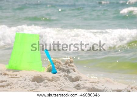 Torn down sea castle at seashore - stock photo