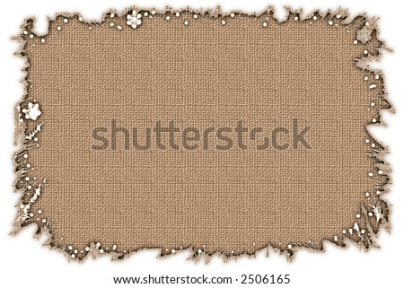 Torn edge frame with burlap texture inside . Great design for stationary template , greetings cards , photo frame and other print or web  projects . - stock photo