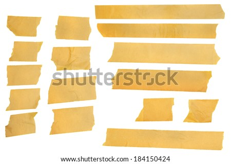 Torn Masking Tape, Assorted Masking Tape Pieces, all for your uses. - stock photo