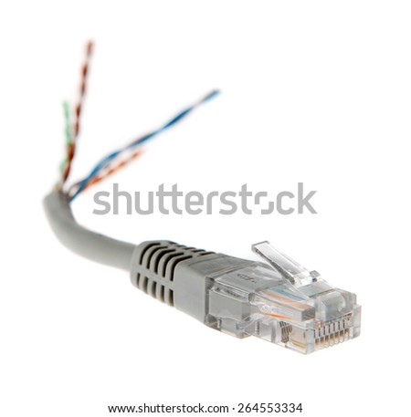 torn network cable closeup, patch cable on the white background  - stock photo