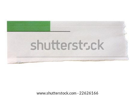 Torn newspaper banner, ready for your message. - stock photo
