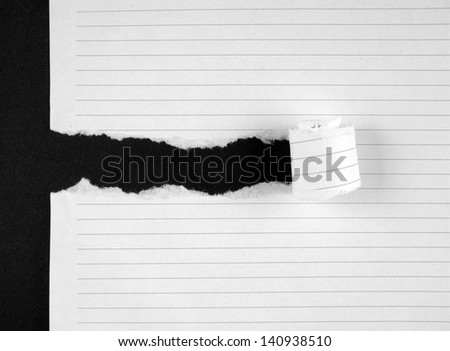 Torn notebook page - stock photo