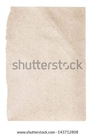 Torn Notepaper recycled brown cardstock texture as background - stock photo