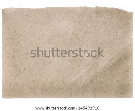 Torn Notepaper recycled natural craft paper cardstock texture as background - stock photo