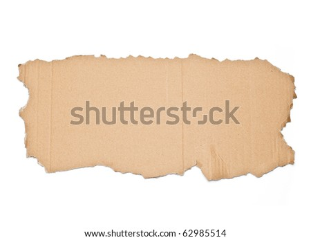 torn out piece of cardboard isolated on white background - stock photo