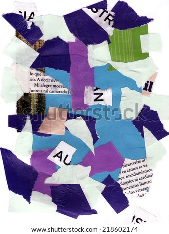 Torn paper and letters collage - stock photo