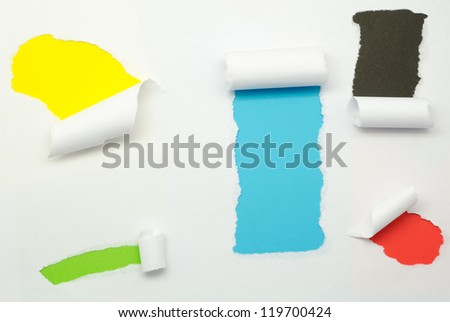 Torn Paper and space for text with colorful background - stock photo