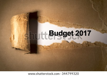 Torn paper box with word budget 2017 in low light - stock photo