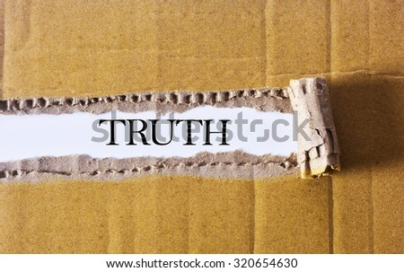 Torn paper box with word Truth - BUSINESS CONCEPT - stock photo