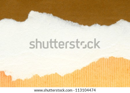 Torn paper collage background, texture. - stock photo