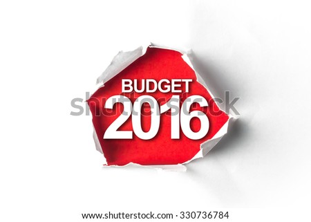 Torn paper with a word Budget 2016 - stock photo