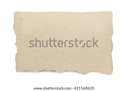Torn paper with clipping path.  isolated on white with soft shadow. - stock photo