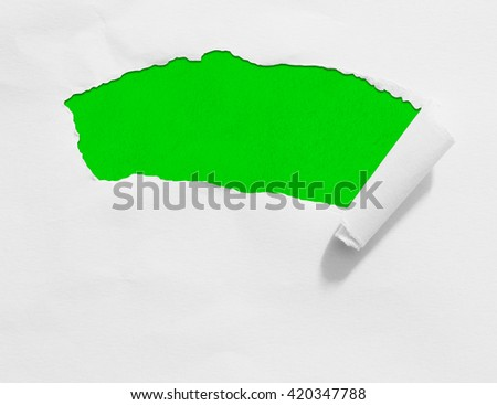 Torn paper with green space with white background. - stock photo