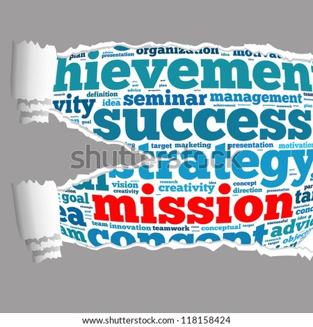 Torn Paper with mission info-text graphics and arrangement concept on white background (word cloud) - stock photo