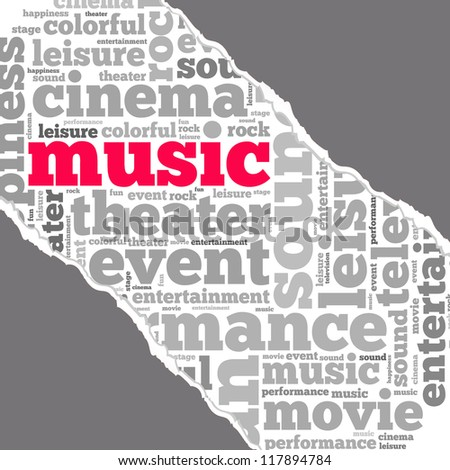 Torn Paper with music info-text graphics and arrangement concept on white background (word cloud) - stock photo