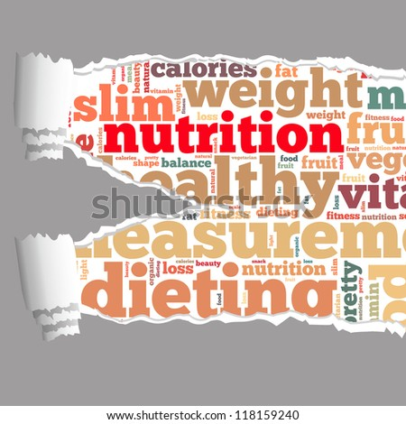 Torn Paper with nutrition info-text graphics and arrangement concept on white background (word cloud) - stock photo