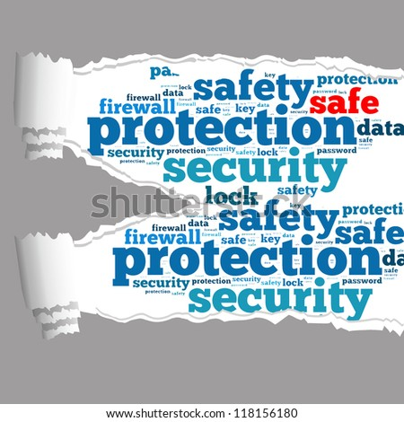 Torn Paper with safe info-text graphics and arrangement concept on white background (word cloud) - stock photo