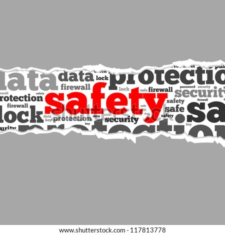 Torn Paper with safety info-text graphics and arrangement concept on white background (word cloud) - stock photo
