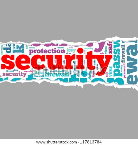 Torn Paper with security info-text graphics and arrangement concept on white background (word cloud) - stock photo