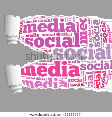 Torn Paper with social media info-text graphics and arrangement concept on white background (word cloud) - stock photo
