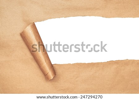 Torn parcel paper revealing white copy space