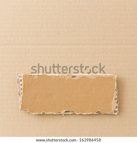 Torn piece of cardboard on cardboard background. Square format. - stock photo