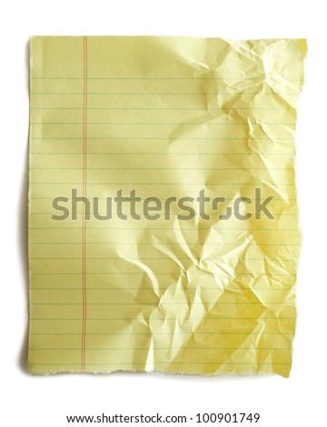Torn piece of crumpled notebook paper isolated on white.