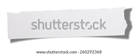 Torn Piece of Paper.Isolated on white background. - stock photo