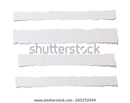 Torn Pieces of White Paper. Isolated on white background. Clipping Path - stock photo