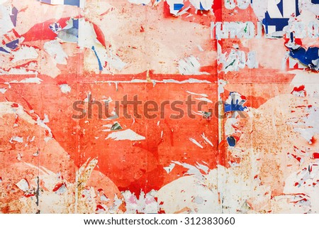 Torn poster paper as grunge texture, urban graphic design background - stock photo