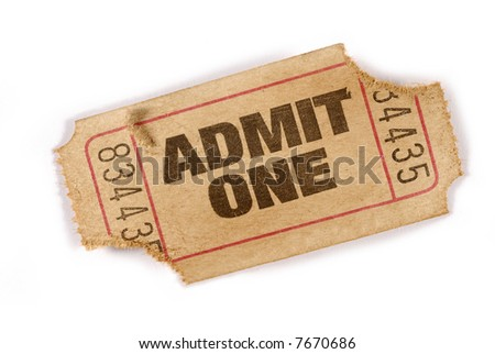 Torn ticket : old torn admit one movie ticket isolated on white background.   - stock photo