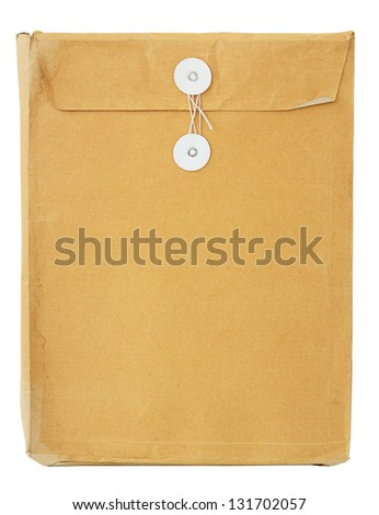 Torn used envelop isolated on white with clipping path.