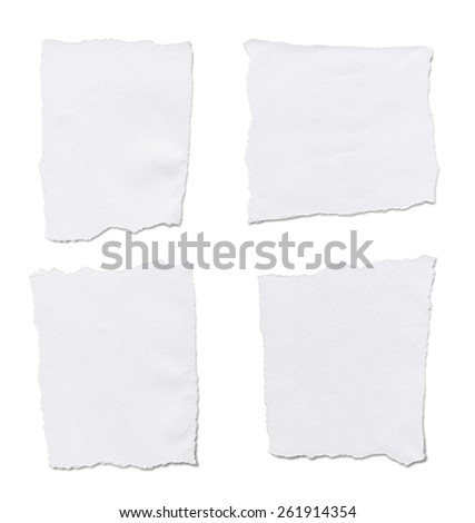 Torn White Paper.Isolated on white background. - stock photo