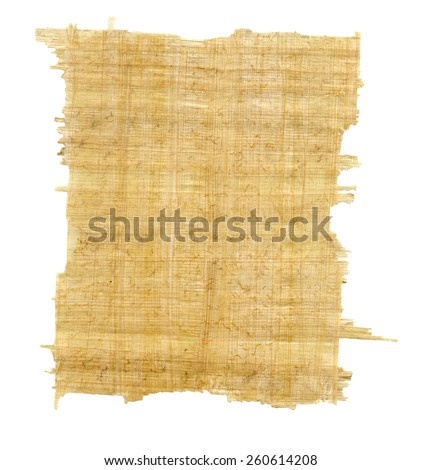 Torn Yellow Brown Papyrus Paper Isolated on White Background. - stock photo