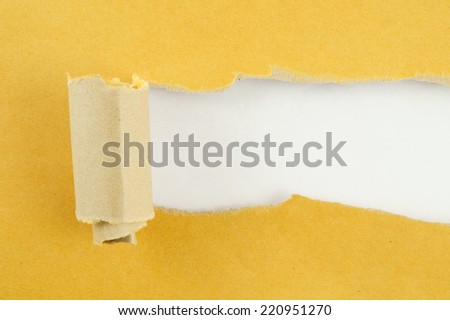 Torn yellow paper with gray background  - stock photo