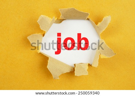 Torn yellow paper with word job on white background - stock photo