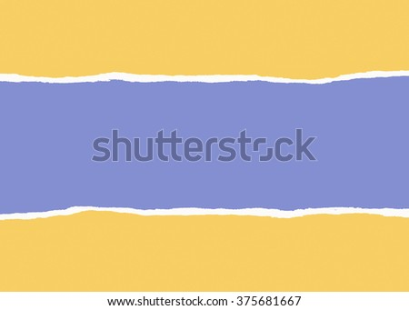 Torn yellow wrapping paper with a blue background