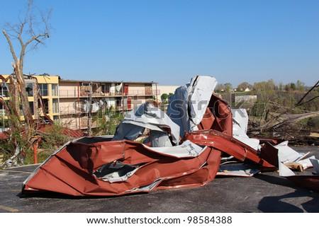 Tornado damage in Branson, Missouri. - stock photo