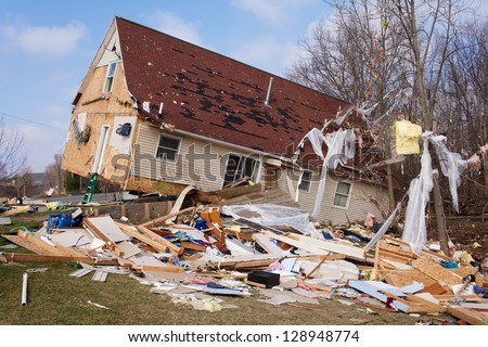 Tornado damage in Lapeer, Michigan. - stock photo