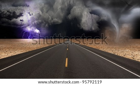 Tornado funnel in desert road landscape - stock photo