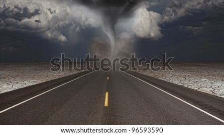 Tornado funnel in desert road landscape - stock photo