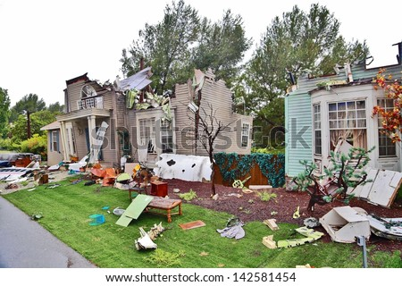 Tornado House Destruction - stock photo